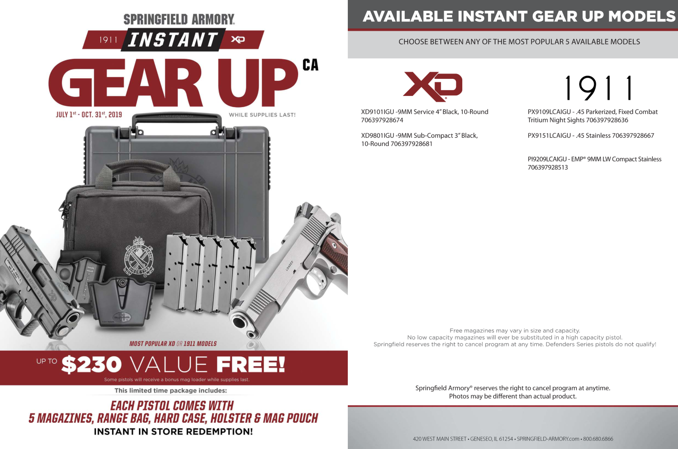 "Springfield Armory XD 9MM 4"" Barrel - Gear Up Package - PROMO"