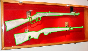 Lockable Rifle Wall Display Case w/UV Protection - Click Image to Close